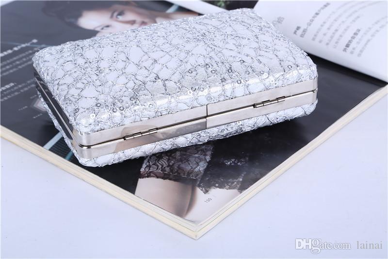 Vente en gros / marque usine nouveau sac paillettes joli main dîner / embrayage avec satin pour le mariage / banquet / fête / porm Plus de couleurs