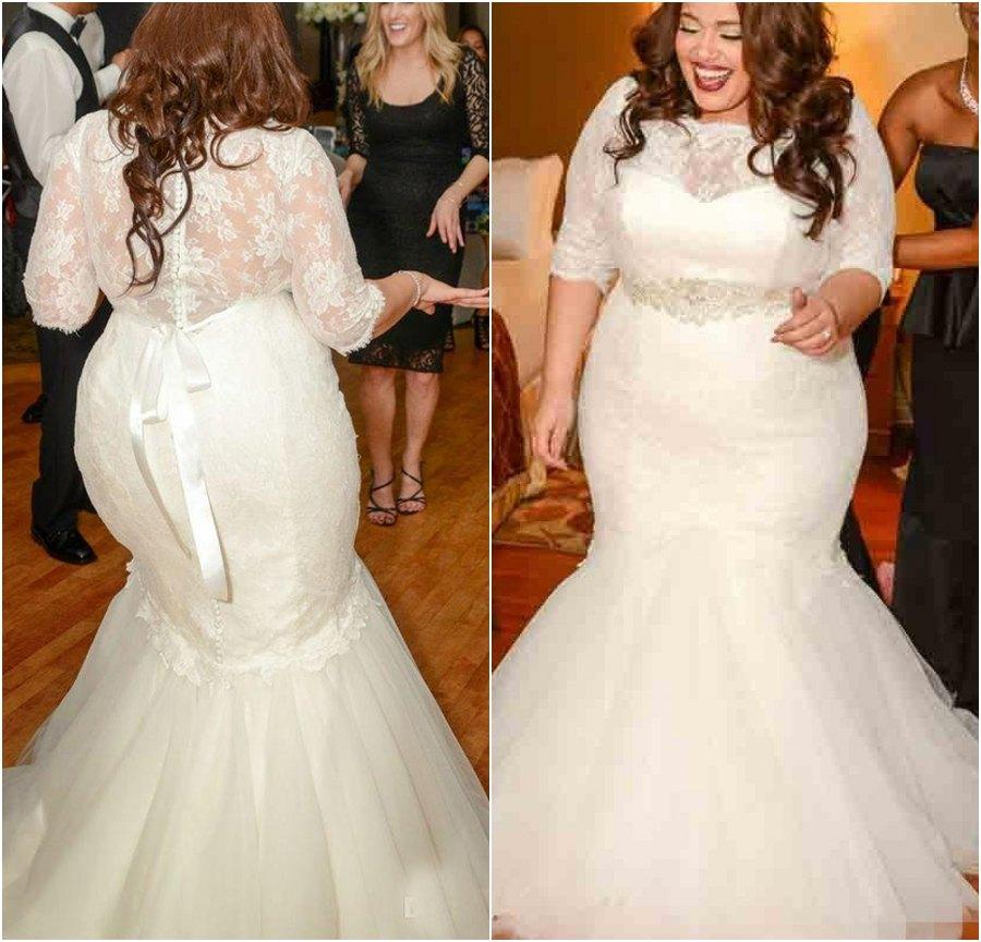 Gorgeous Half Sleeves Mermaid Wedding Dresses 2016 New Plus Size