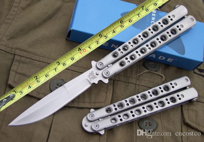 Benchmade BM BM42 Balisong butterfly knife tactical Knife Satin Plain 42 BM43 BM47 EDC pocket survival knife knives with nylon sheath