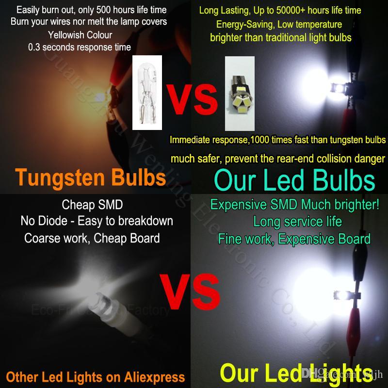 Automotive Led T5 Wedge 5-SMD 3020 12v Speedometer Instrument Cluster LED Light Bulb 37 73 Gauge Dashboards Indicator Ignition Light Bulbs