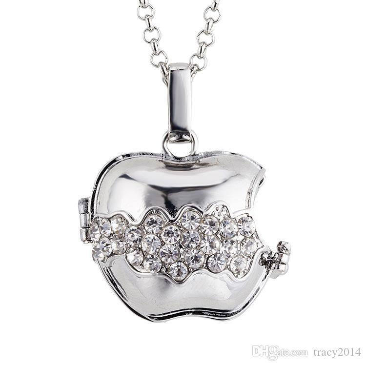 2015 new Pregnant Ball Necklace Harmony Ball women necklace pendant Bitten apple White K plated pendant with crystal Factory direct sales