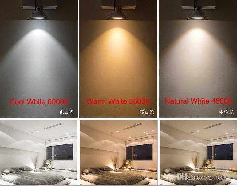 Удара 5Вт 9Вт 12Вт 15Вт светодиодные светильники светильник потолочный вниз огни теплый/холодный/натуральный белый 4500K декоративные встраиваемые светильники Затемняемый/номера