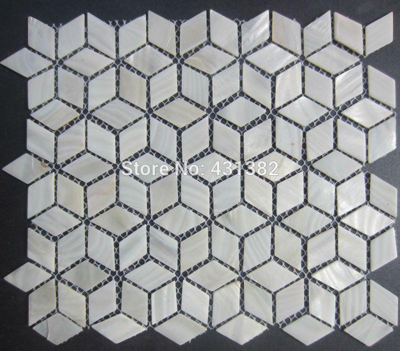 Großhandel Freies Verschiffen Raute Shell Mosaik Fliesen, 42 * 24; Naural  Reine Weiße Perlmuttfliesen, Küche Backsplash,  Badezimmerwandbodenbelagfliesen Von ...