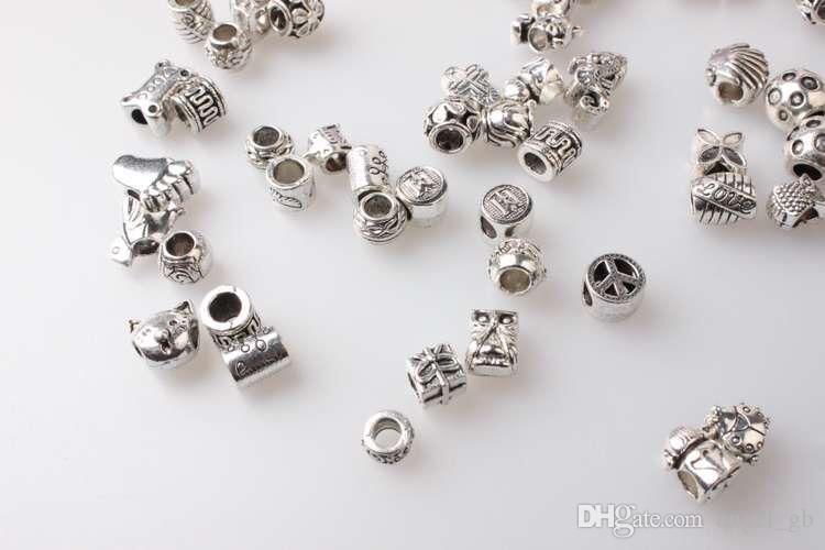 Joyería de moda Mix 29 flojo de los granos grandes del agujero del encanto del estilo para Pandora DIY joyería de la pulsera Para BraceletNecklace Europea