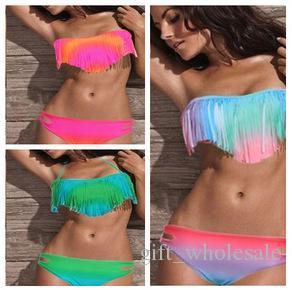 Hot Women's Fringe Bikini Swimwear Solid & Ombre Fringe Strap Halter Padded Girl Lady Swimming Swimsuit bathing Suit Top & Bottom