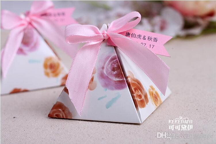 2016 European style purple pink flower color Pearl paper triangle pyramid Wedding box Candy Box gift boxs wedding favour boxes THZ185