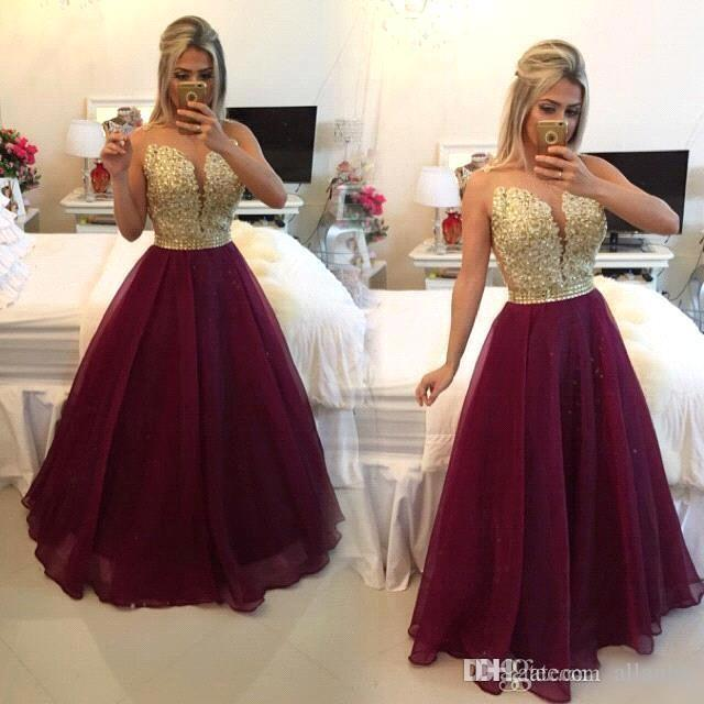 0b20885f9ba1e 2019 New Fashion Gold Applique A Line Prom Dresses Sheer Neck Illusion  Button Back Floor Length Dresses Evening Wear Party Gowns EV0353 Long Cheap  Prom ...