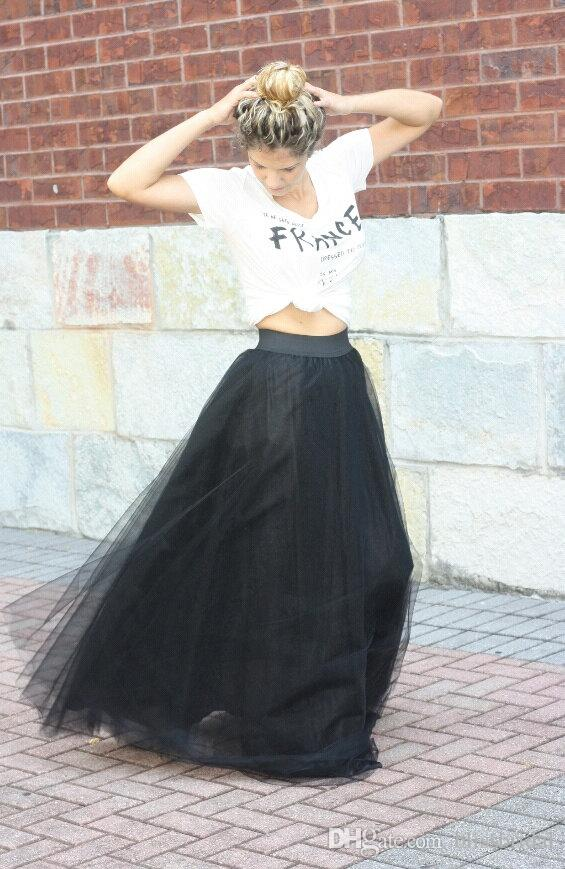 Fashion A Line Long Black Tulle Skirts WOmen Formal Party Dresses Custom Made Layered 2016 Spring Vinatge Prom Gowns