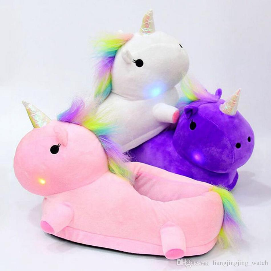be57c0ed864 2019 LED Light Up Glow Unicorn Slippers Women Warm Cute Soft Plush ...