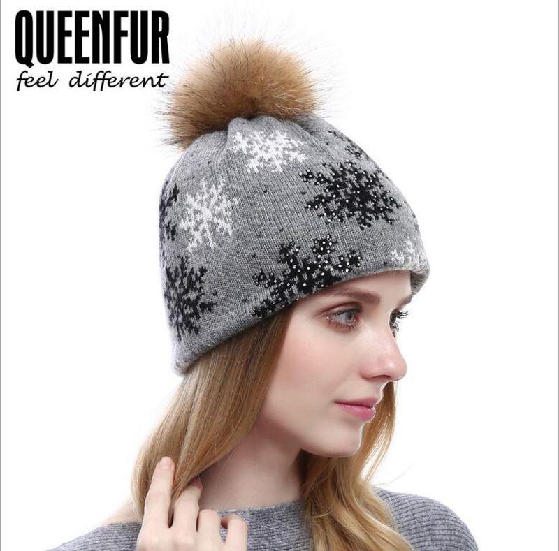 62dfe1e00f96b New Autumn Winter Cashmere Hat For Lady Bangzi Hair Ball Snowflake Hat  Fashion Rhinestone Knit Hat Beanies For Women Beanie Cap From Jianyuan1