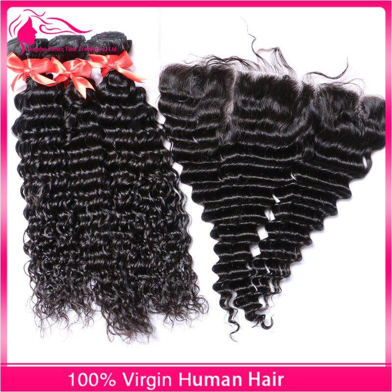 حار 3 حزم موجة عميقة عذراء الشعر البشري مع الدانتيل أمامي إغلاق البرازيلي الأذن إلى الأذن frontals الدانتيل الكامل مع ينسج الشعر