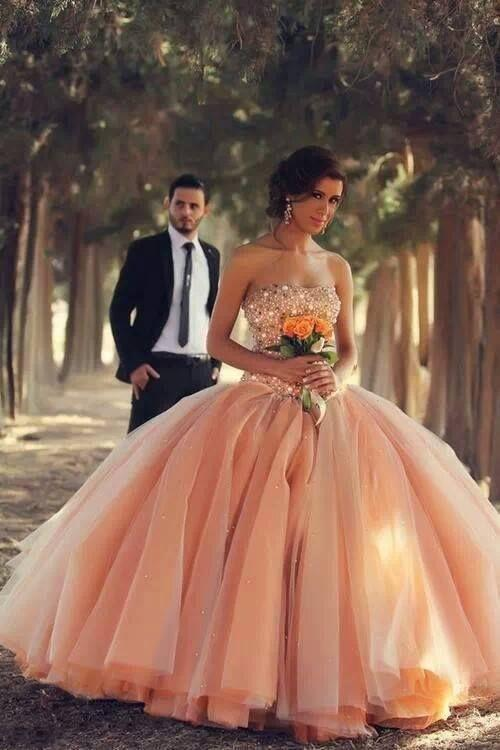 2015 Peach Quinceanera Dresses Strapless crystal Beading Ball Gown Tulle Pageant Gowns Fancy Corset Back Spring Wedding Dress Custom made