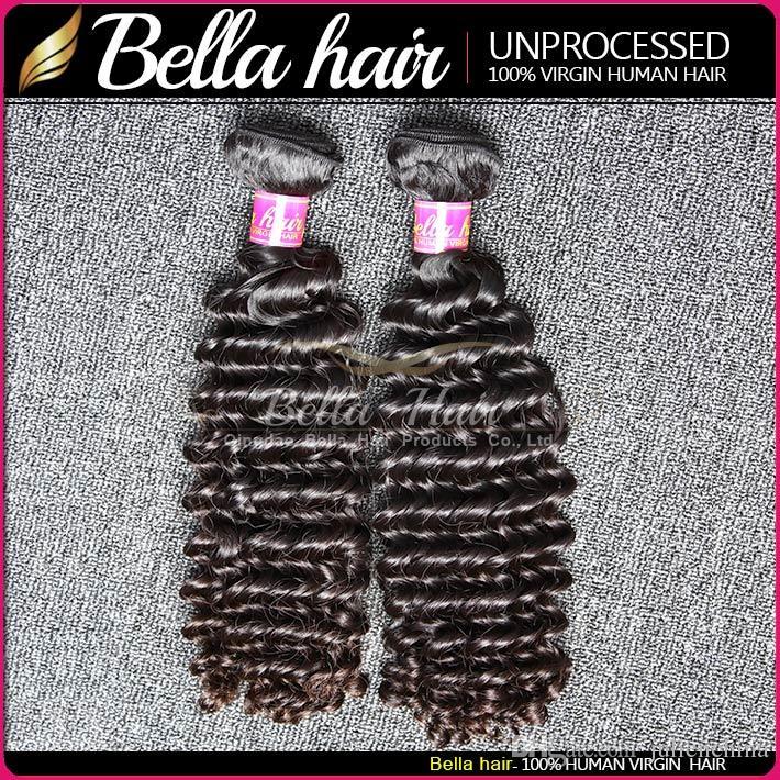벨라 헤어 ® 말레이시아 딥 웨이브 8-30 100 % 버진 인간의 머리카락 확장 Weft 자연 색 2 조각 짜기