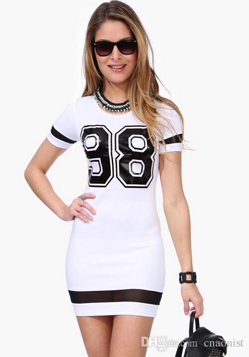 زائد الحجم فساتين السيدات جديد 2015 الأزياء الأوروبية مثير bodycon فساتين مطبوعة nummber 98 المرقعة شبكة مثير نادي فساتين الصيف للنساء