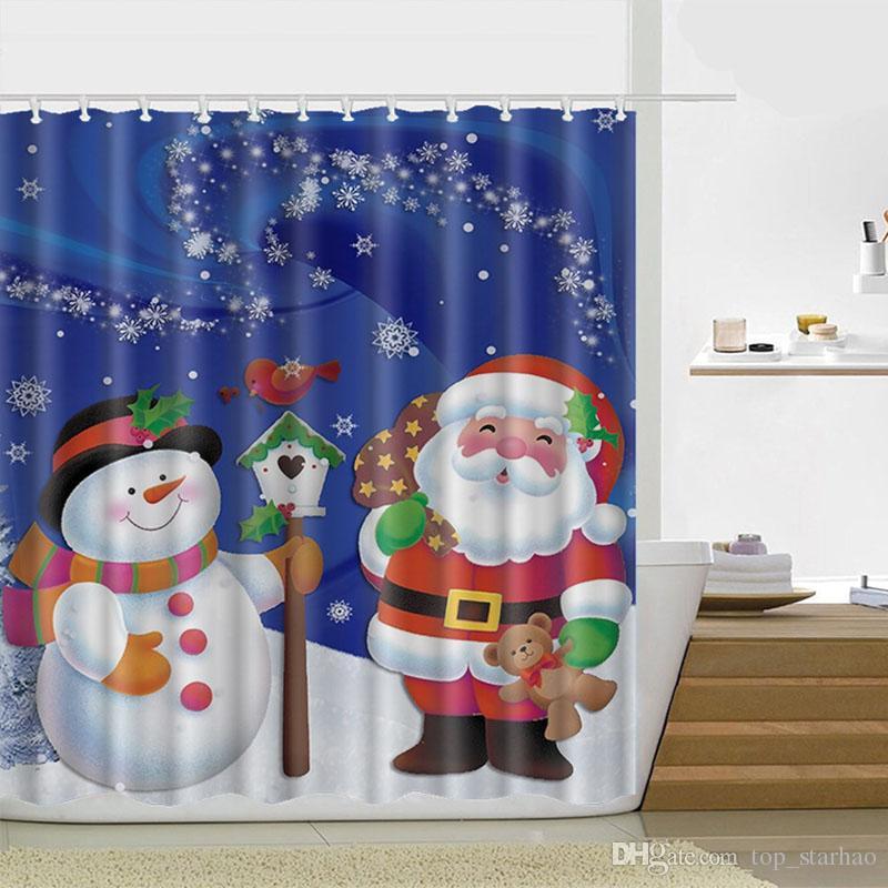 165180cm Snowman Shower Curtain Merry Christmas Sleepy Pattern Bathroom Bath Free DHL XL 329 UK 2019 From