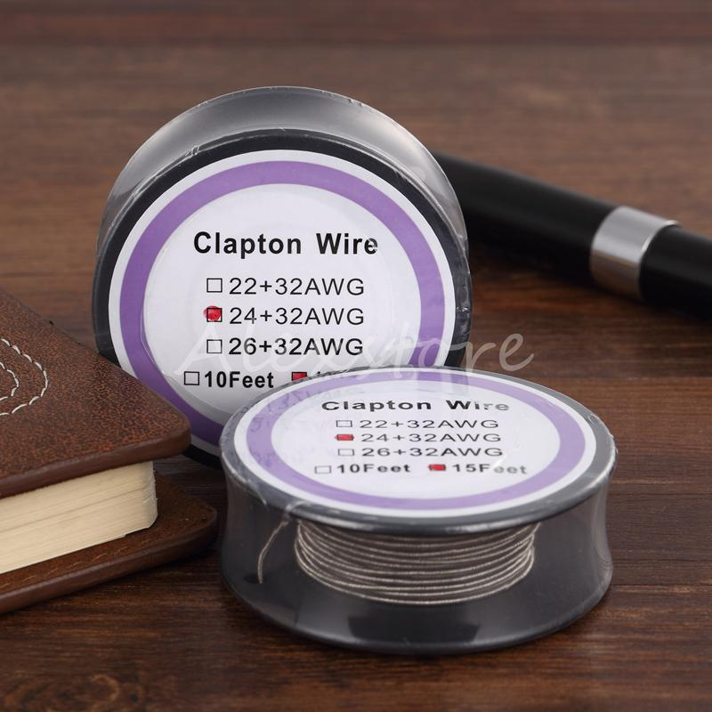 Newest Clapton Wire Resistance Wires 15 Feet 22+32 24+32 26+32 Awg Gauge Vaporizer Coil Spool with Single Package for Rda Vape