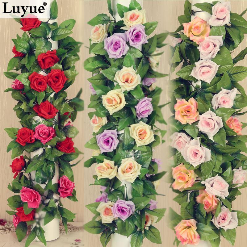 Wedding Decorations 23m Artificial Silk Rose Fake Flower Ivy Leaf