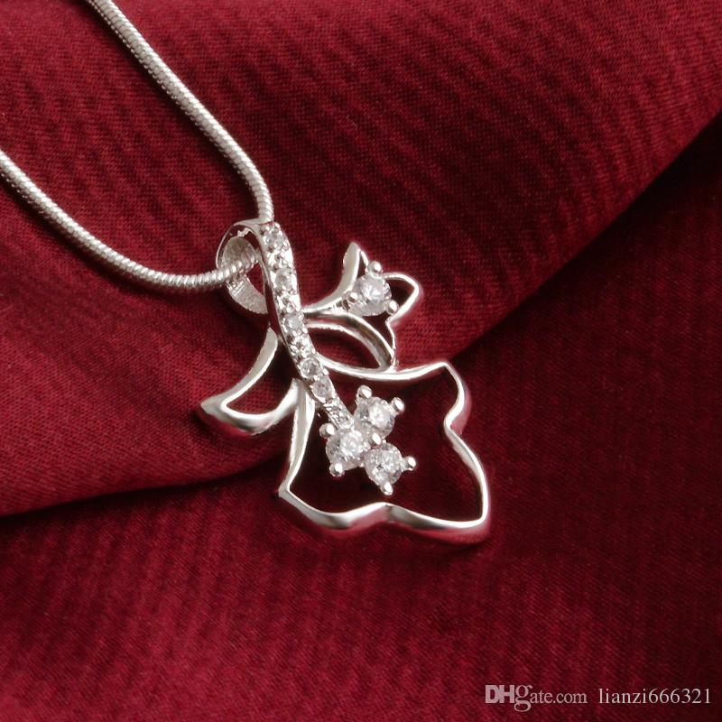 fashion high quality 925 silver Double leaves White diamond jewelry 925 silver necklace Valentine's Day holiday gifts hot 1666
