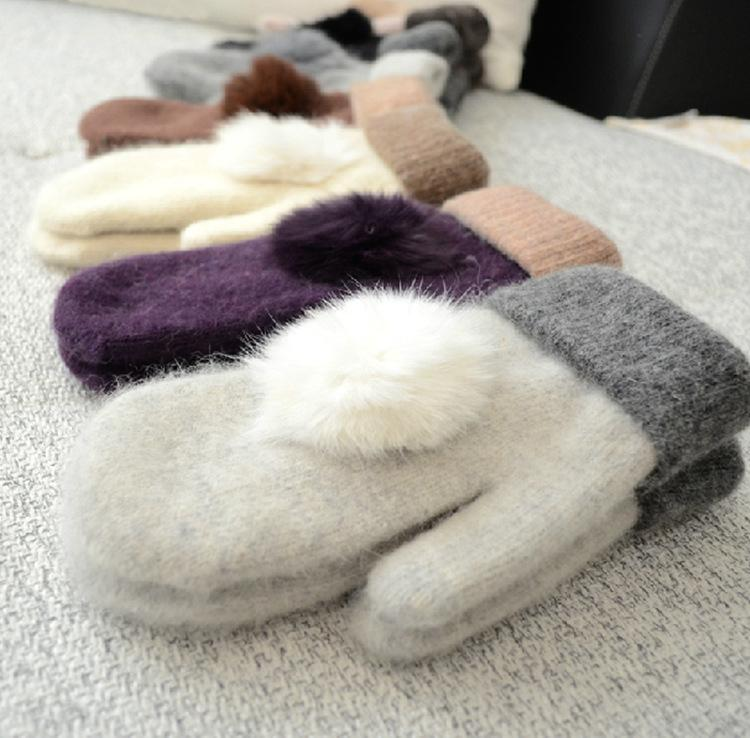 Womens Knitted Knitting Wool Gloves Winter Warm Rabbit Fur Ball Top Pom Pom Thick Mittens For Lady