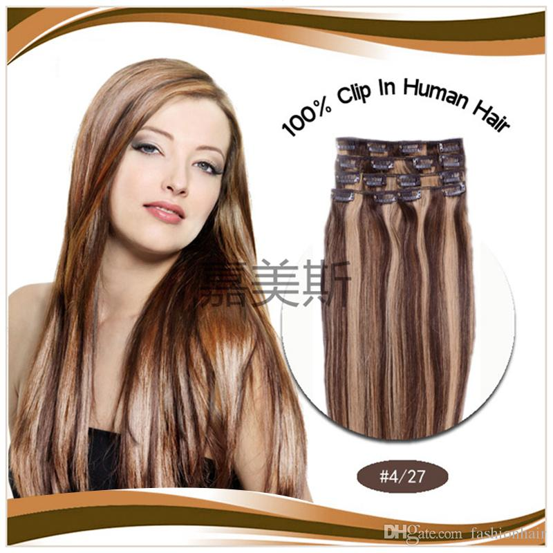 Best Selling Clip In Human Hair Extension 16 18 20 22 Remy Virgin