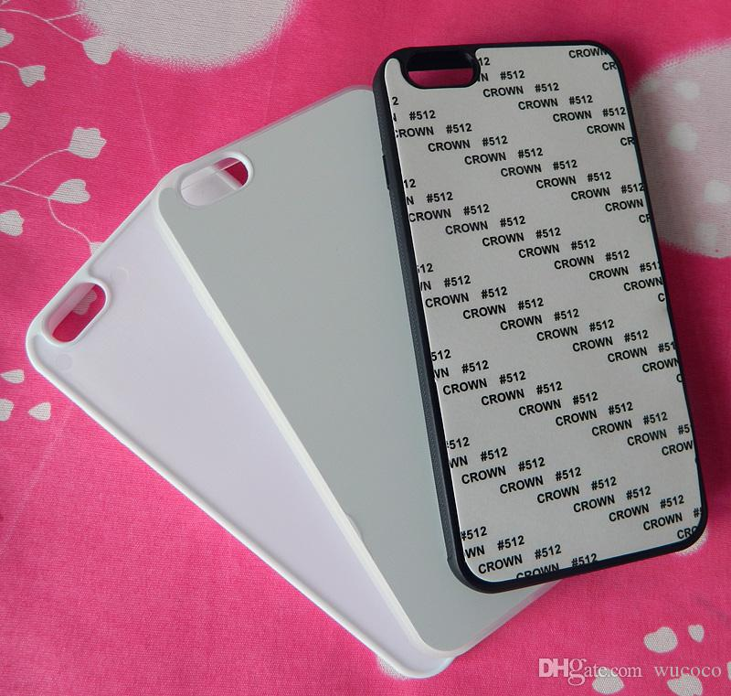 For iphone 6 plus 2d Rubber TPU sublimation case with blank printable aluminium plate
