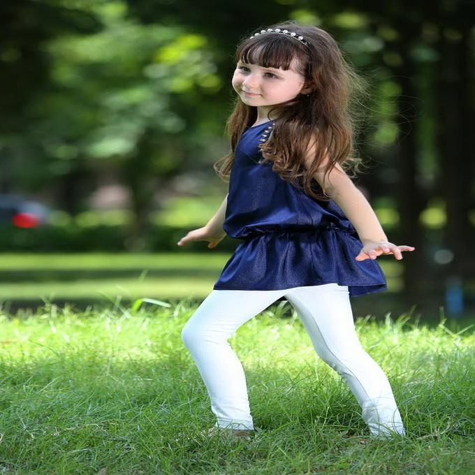 Pettigirl Retail New Arrival Navy Blue Girls Top And Pure White Leggings Girls Casual Suits Wholesale Kids Clothing CS80630-10