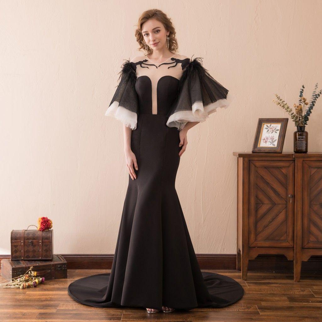Sirena sexy Vestidos de noche negros Vestidos Corto Puffy Sin respaldo Tren Satén Stock 2-16 Vestido de fiesta Prom Formalt