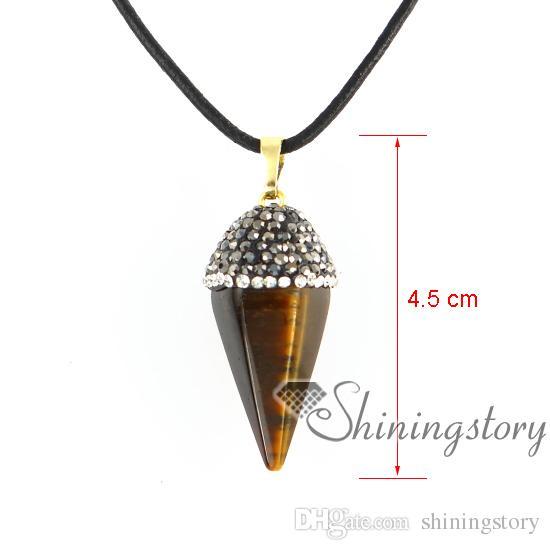 six pyramid semi precious jewellery healing stone jewelry personalized birthstone necklaces semi precious necklace agate semi precious stone