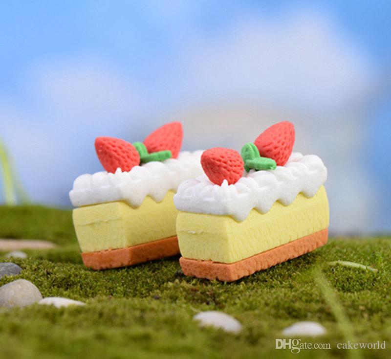 Клубничный торт миниатюры фигурки украшения смолы ремесло кукольный домик бонсай декор террариум decoracion jardin