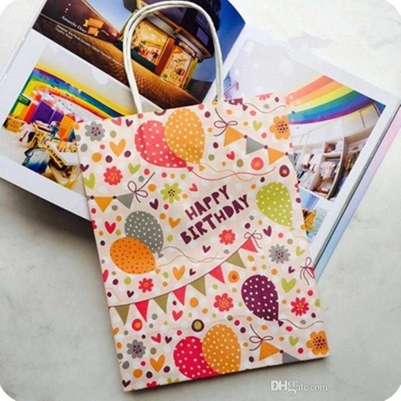 27x21x11cm Happy Birthday gift bag paper,Kraft paper gift bag with handles Cartoon Animals,Balloons Design Packaging bag