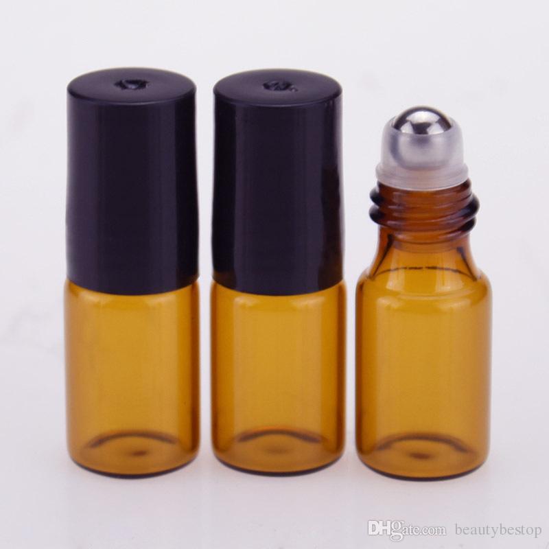 Großhandelsrolle 3ml auf Glasflaschen ätherisches Öl-leere Aromatherapie-Parfümflasche mit Metallglasrollenkugel Dhl-freies Verschiffen