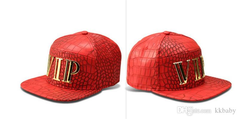 Neue Mode Katze Brief VIP Männer Hip Hop VIP Brief Baseball Caps Faux PU Leder Casual Unisex Outdoor Street Hüte Gold / Schwarz Hysterese