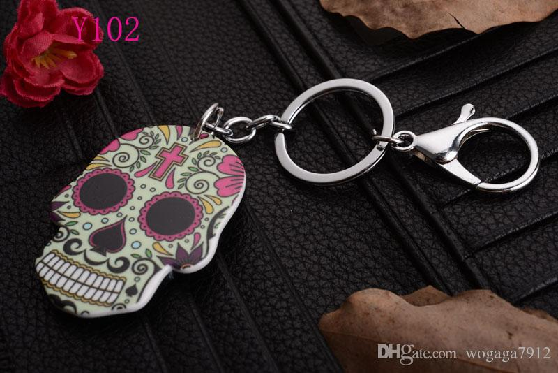 Череп голова с новым брелок кулон кошелек сумка автомобиль брелок кольцо новая мода любовник подарок Y103
