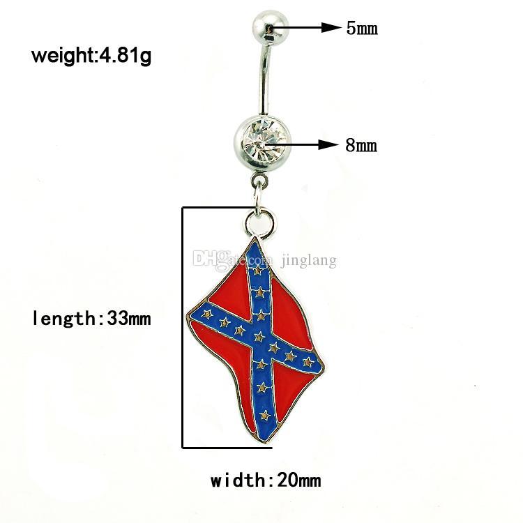 Frete Grátis Moda Umbigo Anéis Oscila Aço Inoxidável 316L Nacional Flag Umbigo Body Piercing Jóias