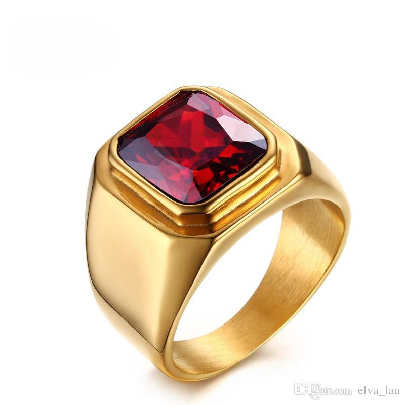 Wholesale Mens Fashion Gemstone Rings Square Cut Red Cubic Zirconia Halo Ring Men Jewelry Gold Color Stainless Steel Rings for Men