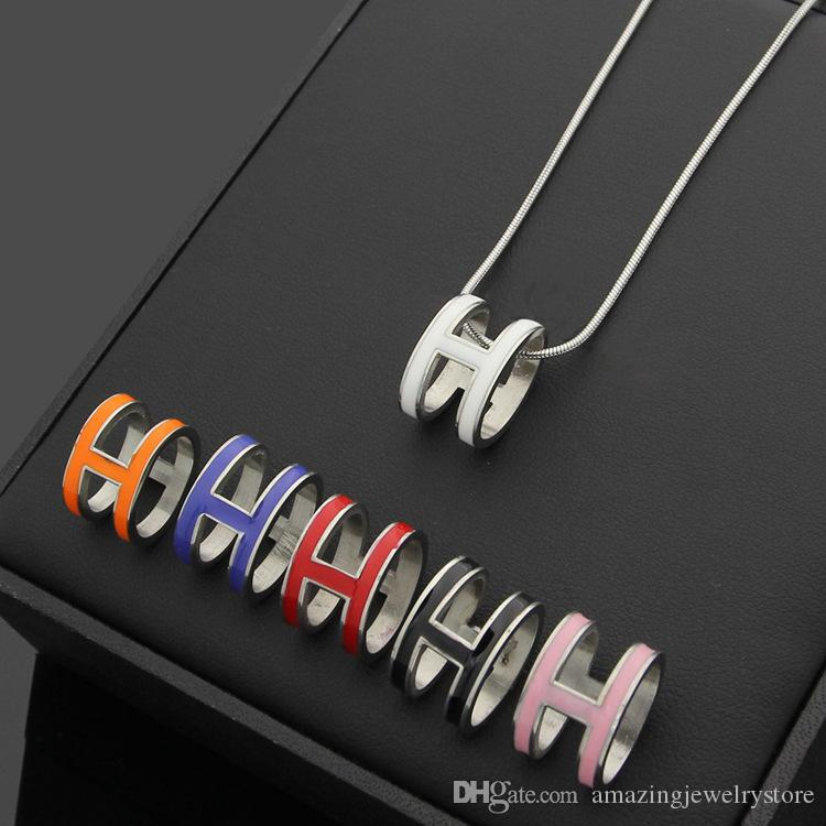 Top quality 316L Titanium steel punk necklace with H words for man and women pendant necklace in 50cm jewelry gift PS6015