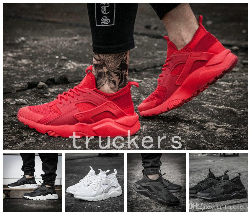 2017 New Air Huarache 4 Running Shoes All Red Mesh Huraches Ultra Breathe  For Men Women Huaraches Sports Hurache Sneakers Size 36 46 Sports Shoes  Running ... c9c2aa094