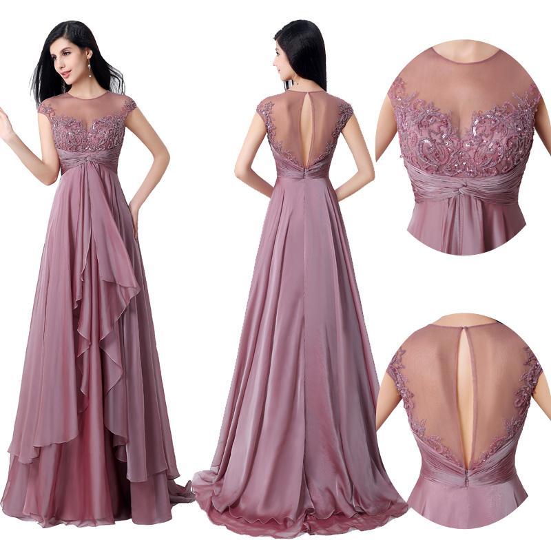 Mauve Sequins Beaded Evening Dresses 2016 Fashion Sheer Back