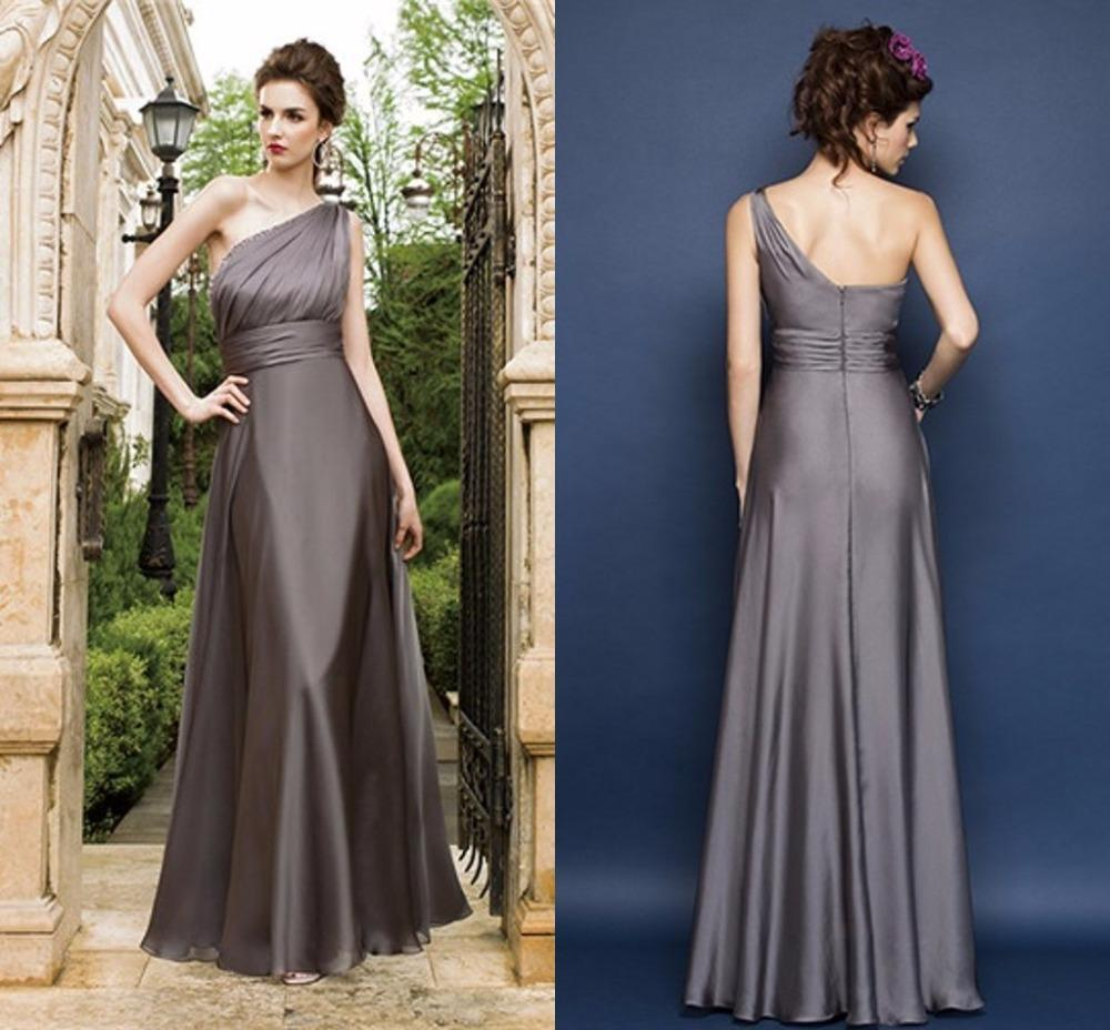 2015 fall grey plus size bridesmaid dresses one shoulder floor 2015 fall grey plus size bridesmaid dresses one shoulder floor length pleats evening party gowns for wedding long dresses junior bridesmaid dresses black ombrellifo Images