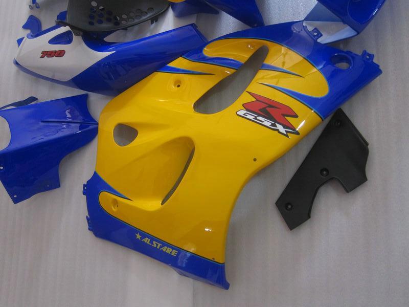 Высокое качество обтекатель комплект для SUZUKI GSXR600 GSXR750 1996-2000 GSX-R 600/750 96 97 98 99 00 желтый синий обтекатели комплект GB5