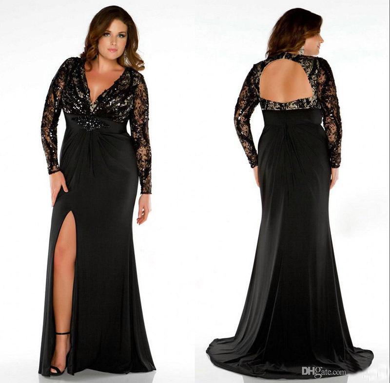 Sexy Long Sleeve Plus Size Evening Dresses Blacv Neck Appliques Lace