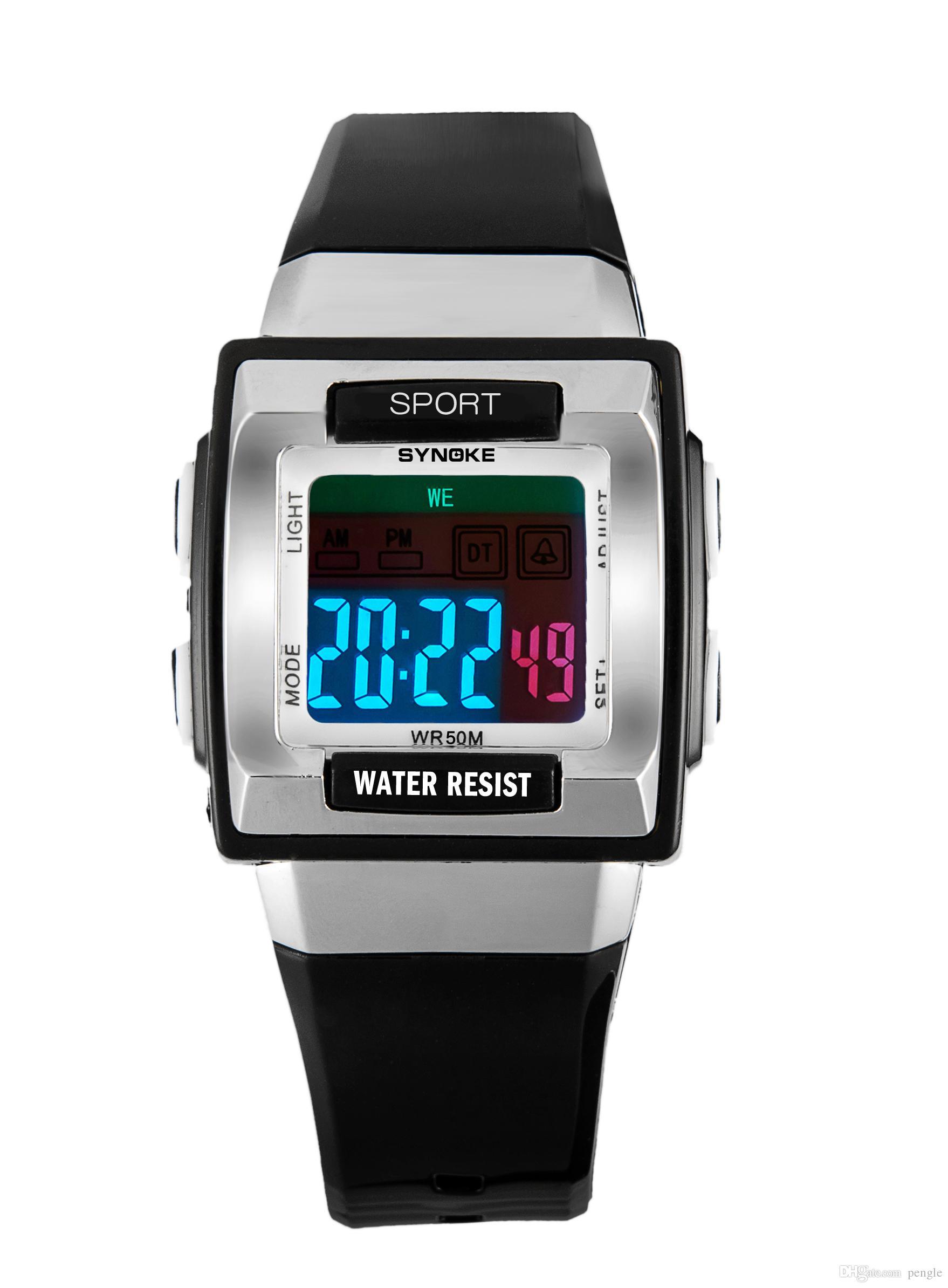 Nuevo estilo de natación de muñeca Relojes impermeables Reloj digital LED Alarma Fecha Regalo deportivo para reloj Envío gratis