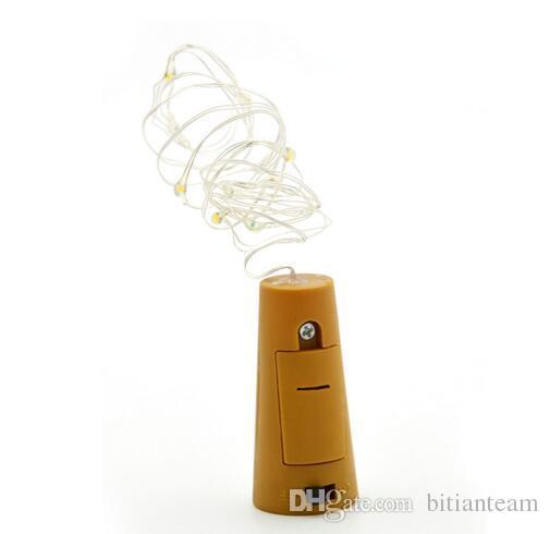 Caliente 1M 10LED 2M 20LED Lámpara Tapón de botella en forma de corcho Luz Vidrio Vino LED Luces de cadena de alambre de cobre para boda de fiesta de Navidad