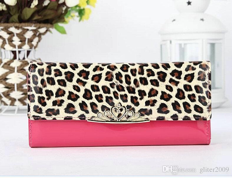 Hot Sales New Women's Fashion Wallet Superior Quality Leopard Pattern Rose Red Pu Gratis frakt
