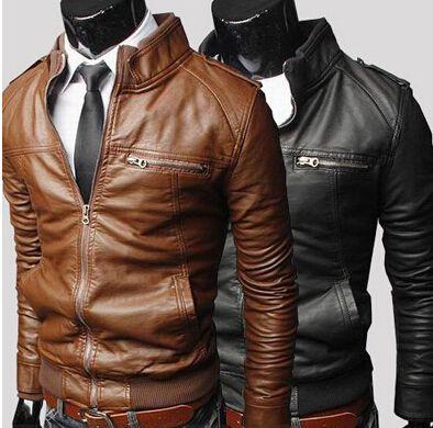 Homens de couro por atacado dos homens de couro da motocicleta 2015 inverno novo casaco de couro jaqueta de couro dos homens coreanos Magros casaco @ s009