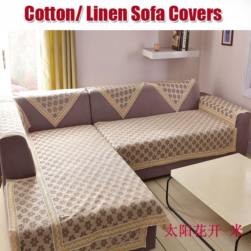 Covering A Sofa With Fabric: Cotton/Linen Fabric For Sofa Cover Sofa Towel With Lace