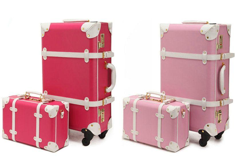 New Women Vintage Luggage Sets Pu Leather Travel Suitcase ...