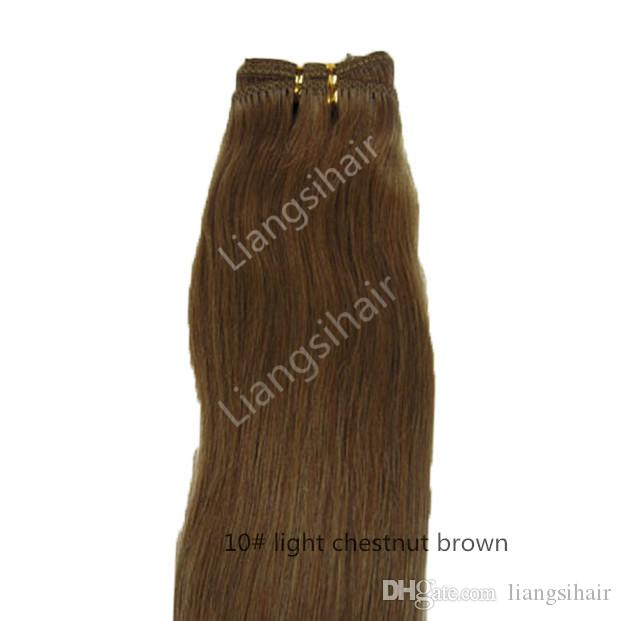 "7A 100g 1pcs 18"" 10# Light Chestnut Brown Brazilian Straight Hair Extensions Indian Malaysian Peruvian Remy Human Hair Weave"