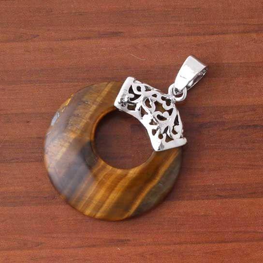 Pendente dell'annata di forma vuota rotonda rotonda di pietra mista placcata argento all'ingrosso i gioielli di fascino della collana