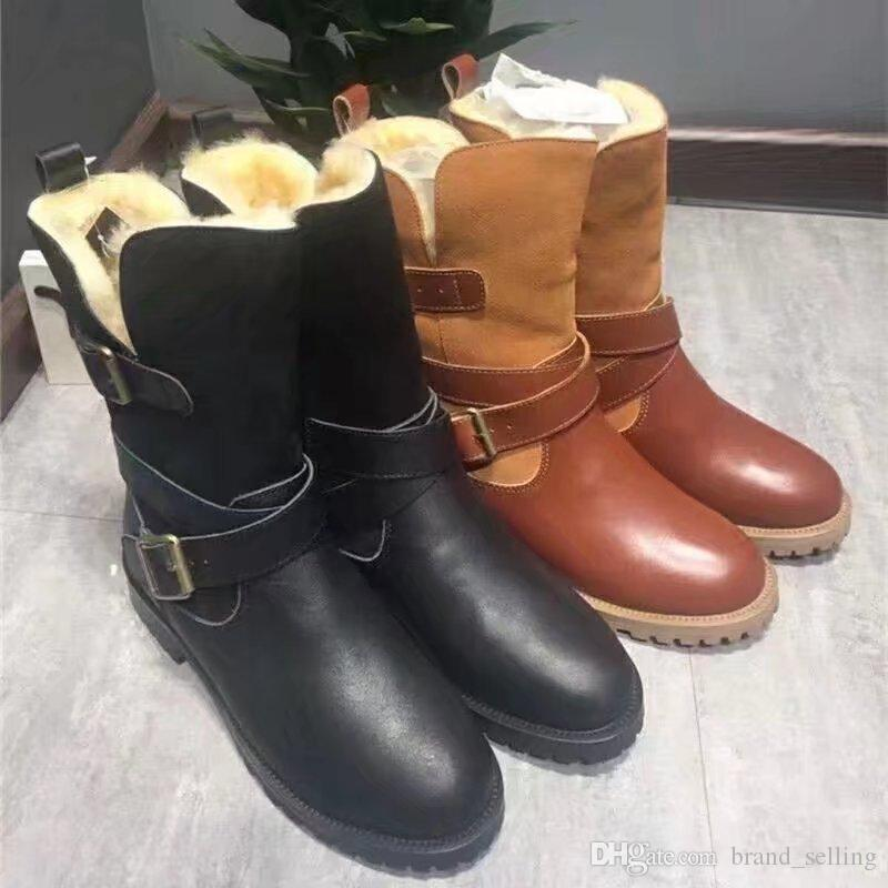 Woman's 2017 Warm Martin boots Wear-resistant anti-skid rubber Genuine leather strap custom-made all match suits Sensible shoes